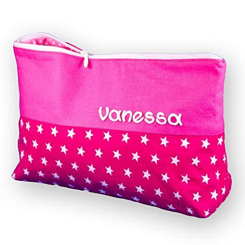 Waschtasche Sterne groß mit Namen pink, Sternebeutel, Kulturbeutel Damen, Waschtasche Mädchen, Geschenke für Mama, Valentinsgeschenk - Personalisierte Wickeltasche Große
