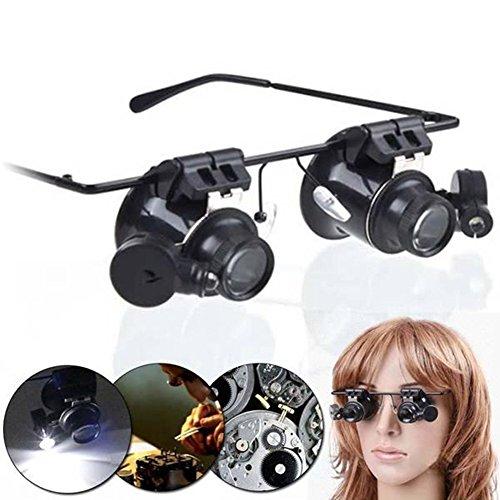 QZY Reparatur Reparatur Erkennung Metall Lupe, Stirnband Medizinische Binokular Eye Lupe Glas LED Lampe Doppellinse 20X Verstärkung