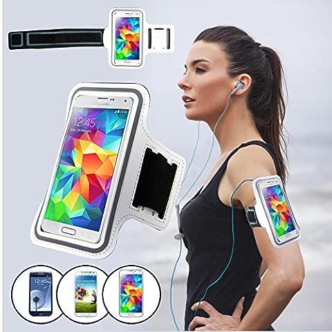 SAVFY® Blanc Brassard Armband Sport pour Samsung Galaxy S3/S4/S5 / GT-i9300/i9500/i9600 pour le Jogging / Gym / Sport - confortable avec sangle réglable