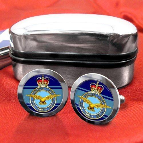 Family Crests Royal Air Force RAF Hommes Boutons de Manchettes avec Chrome Emballage Cadeau