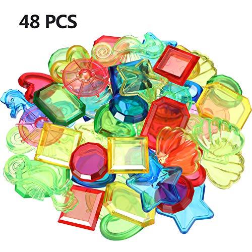 Gem Bad (Boao 48 Stücke Tauchen Edelstein Schwimm Bad Tauch Edelsteine Kunststoff Edelstein Spielzeug für Sommer Pool Strand Party Lieferungen)
