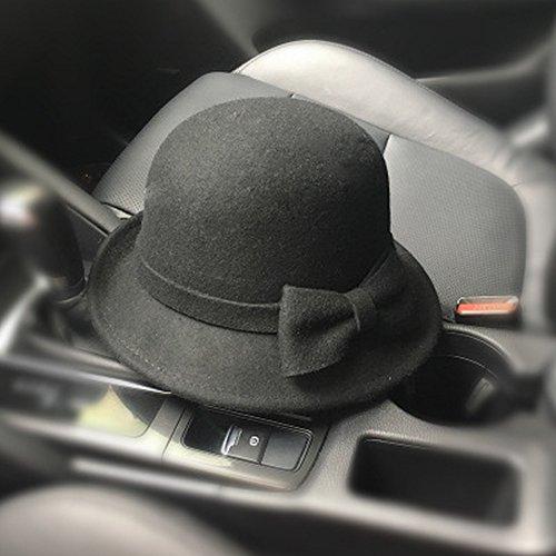 Frauen 'S Winter Bowler Hüte Bogen Stricken Hut Herbst und Winter Kuppel Wolle Hut Fedoras Trilby,Schwarz