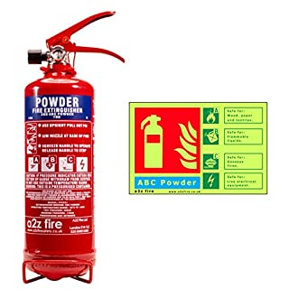 Fire Extinguisher Home 2kg Powder & ID Sign from A2Z Fire with Free Extended 10 Year Warranty for use at Home & in Vehicles such as Cars, Vans, Caravans & Boats. Safe to use on Class A, Class B, Class C & Electrical Fires