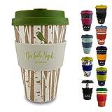 Morgenheld ☀ Dein trendiger Bambusbecher | umweltfreundlicher Coffee-to-Go-Becher | nachhaltiger Kaffeebecher mit Silikondeckel und Banderole in coolem Design 400 ml Füllmenge (Forest)