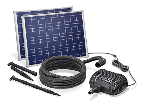 Solar Bachlaufset 70W Solarmodul 3400 l/h Förderleistung 3m Förderhöhe inkl. 5m Schlauch 32mm Bachlaufpumpe esotec pro Komplettset 101966 (Wp 460)
