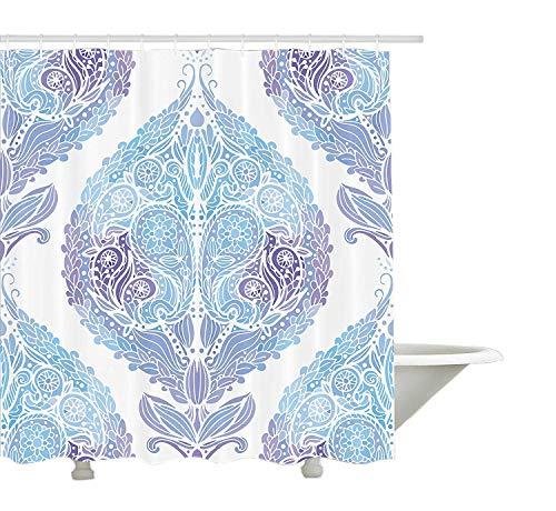 GWFVA Tenda della Doccia Orientale, Motivo a Motivi Tradizionali di Paisley Motivo a Motivo Ornamentale Floreale di Piastrelle, Arredamento Bagno in Tessuto con Ganci, Viola Blu Pallido