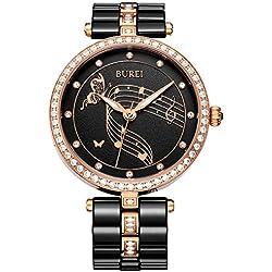 BUREI Women's Elegant Analog Quartz Wrist Watch with Rose Gold Diamond Crystals Case and Black Ceramic Bracelet
