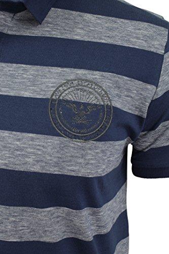Herren gestreiftes Polo T-Shirt von Brave Soul kurzärmlig Marine