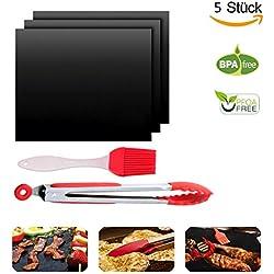 WLot BBQ Set 3pcs Backmatte Grillmatte hitzebeständig Antihaft Grill mit 1X hitzebeständig Grillzangen und 1X Silikon Pinsel Grillpinsel,PFOA frei wiederverwendbar Barbecue sets für BBQ Camping Küche grillen Backen etc