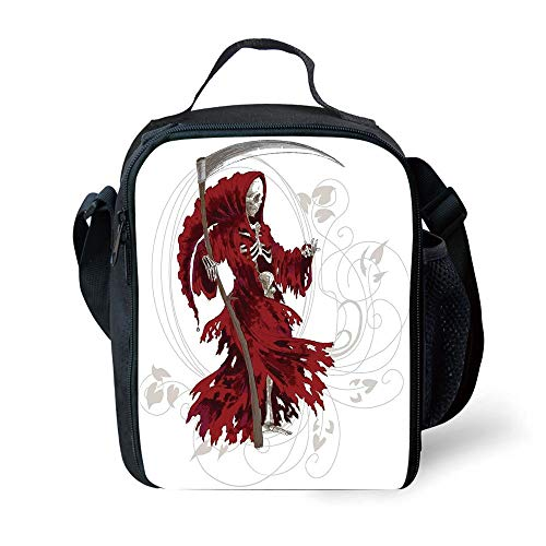 Evil Girl Dead Kostüm - ZKHTO School Supplies Gothic,Illustration of Skeleton Grim Reaper Dead Farmer Skull with Hood Danger Evil,Red Beige White for Girls or Boys Washable