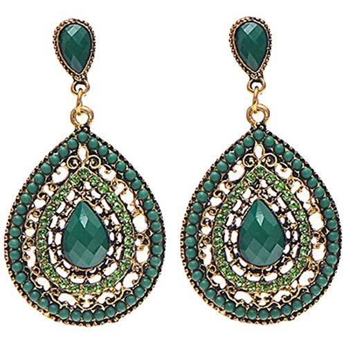 1 Paar Frauen-Tropfen-Ohrring -Weinlese -Wasser-Tropfen-gekompatibel mitmte Lange böhmischen Stil Earings Grün