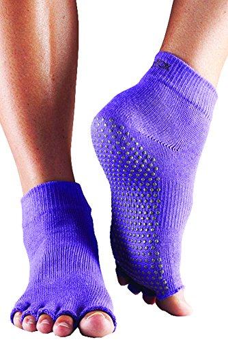 Toesox–Calcetines para hombre y mujer 1par mitad Dedos algodón orgánico tobillo Yoga calcetines en luz morado morado morado claro 9-10.5 Unisexo