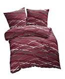 Etérea 2 tlg Fein Biber Bettwäsche-Set Abigail Streifen Bordeaux Rot, 135x200 cm + 80x80 cm