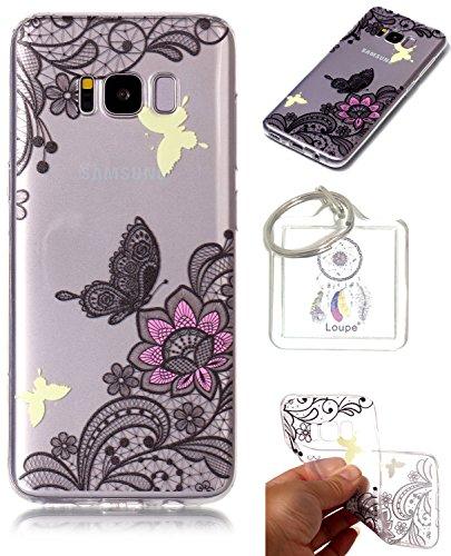 Preisvergleich Produktbild Hülle Galaxy S8 Plus (6.2 Zoll) Hülle, Samsung Galaxy S8 Plus (6.2 Zoll) Hülle TPU Case Schutzhülle Silikon Case,Niedliche Cartoon Malerei Durchsichtige Rückschale und TPU Bumper Handy Tasche Case Cover Etui für Samsung Galaxy S8 Plus (6.2 Zoll) + Schlüsselanhänger (I) (5)