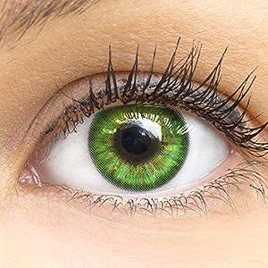 Grüne Farbige Kontaktlinsen Fresh Mint Grün Sehr Stark Deckende SILIKON COMFORT NEUHEIT von GLAMLENS + Behälter – 1 Paar (2 Stück) – DIA 14.50 – ohne Stärke 0.00 Dioptrien