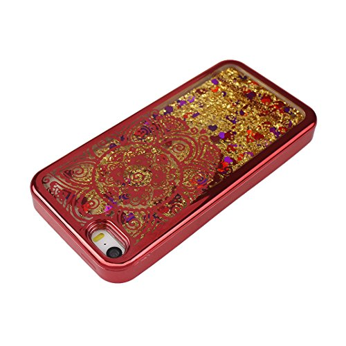 Hülle iPhone SE Treibsand Schale 4.0 Zoll, iPhone 5 Treibsand Schale, iPhone 5S Treibsand Schale, Moon mood® Color Gradient Überzug Plating Case für Apple iPhone 5/5S/SE Durchsichtige Handyhülle 3D Cr 1 Sonnenblume