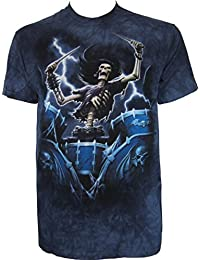 Death Drummer The Mountain Rock Music Band Percussion Biker Skeleton T-Shirt