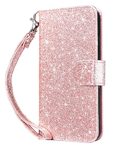 Dailylux iPod Touch 5/6 Hülle,iPod Touch 7 Hülle PU Leder Brieftasche mit Kartenhalter ID Slot und Handschlaufe TPU Innen Schutzhülle für Apple iPod Touch 5/6/7-Bling Rose Gold - Handschlaufe Touch 5 Ipod