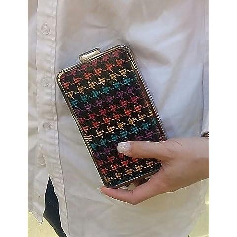 Da Wu Jia Ladies borsetta di alta qualità delle donne di lusso in metallo della frizione della scatola di Borse Borse da Sera , Marrone