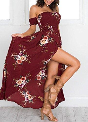QIYUN.Z Femelle Imprimé Floral Imprimé Haut De Gamme De La Bohème Plage Bretelles Longue Robe Vin Rouge