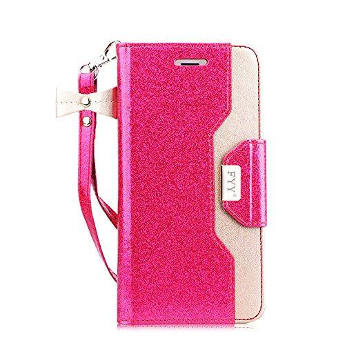 fyy iPhone 6S Plus Tasche, Premium PU Leder Geldbörse Fall mit Kosmetik Spiegel und Schleife Gurt für iPhone 6S Plus/6Plus, X-Bling-Magenta+Gold - Magenta Leder Geldbörse