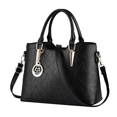 Moda Borse Donna Messenger Bag Borse in Pelle Tote Borsa Style Borsetta Nero