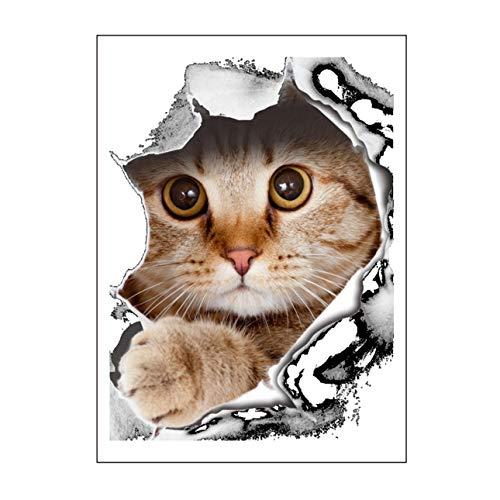 Celerhuak Neuheit Design 3D PVC DIY Wandaufkleber Tier Katze/Hund Gedruckt Bad Wc Wandkleber Familie Kunst Wandaufkleber
