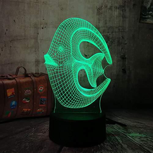 wangZJ Lámpara de ilusión 3d / 7 colores cambiantes Luz de noche táctil/Decoración del dormitorio del bebé/Regalo para niños/Peces de coral 3D