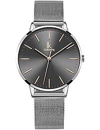 Alienwork Damen-Armbanduhr Quarz Silber mit Milanaise-Mesharmband Edelstahl grau Ultra-flach dünn