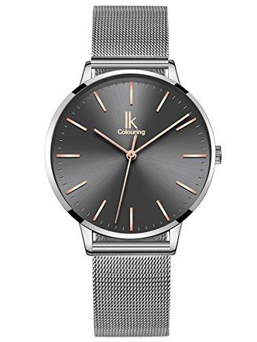 Alienwork Damen-Armbanduhr Quarz Silber mit Milanaise-Mesharmband Edelstahl grau Ultra-flach dnn