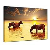Keilrahmenbild - Zebras im Wasser - 120x90 cm 1 teilig - Bilder als Leinwanddruck - Wandbild von Bilderdepot24 - Tierwelten - Afrika - Wilddpferde - Zebras im Sonnenuntergang