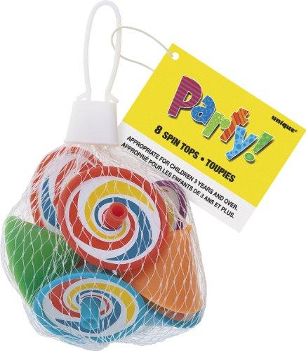 Unique Party - 74023 - Paquet de 8 Mini-Toupies pour Pochettes - Cadeau