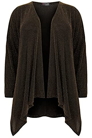 Yoursclothing Plus Size Womens Black & Sparkle Waterfall Cardigan Size 30-32 Gold