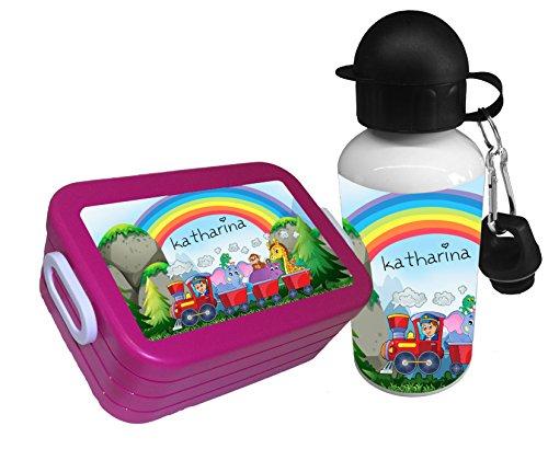 Brotdose Rosti Mepal m. Name Gemüsefach Trinkflasche Brotbox Lunchbox Tiere pink