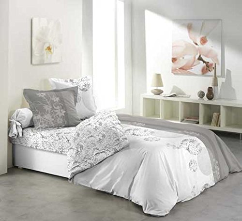 Douceur d'Intérieur - Parure de Lit 2 personnes - 1 Drap plats et 1 Drap Housse - 140 x 190 cm + 2 Taies d'oreiller - Imprimé Bubbles