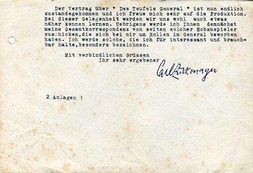 Carl Zuckmayer original Autogramm/Autograph/signiert