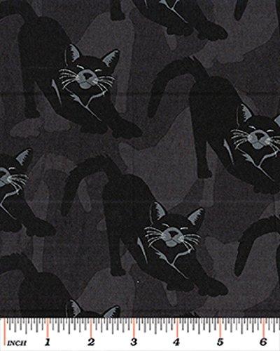 Fat Quarter Gothic Glam Katzen Schwarz Halloween Baumwolle Quilten Stoff benartex -