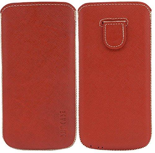 Original Suncase Tasche für / iPhone 6 Plus (5.5 Zoll) / Leder Etui Handytasche Ledertasche Schutzhülle Case Hülle (Lasche mit Rückzugfunktion) (UVP 14.90€) vollnarbig-rot vollnarbig-rot