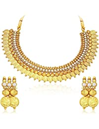 5a52a2d01 Bhagya Lakshmi Enterprises Traditional Golden Gold-plated White Embedded  Temple Coin Necklace Set with Earrings