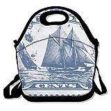 Clipart Bluenose Canadian Stamp Isolierte Lunchtasche - Neopren-Lunchtasche - Große wiederverwendbare Lunch-Taschen für Damen, Teenager, Mädchen, Kinder, Baby, Erwachsene tragbar