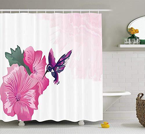 Yeuss Hummingbird Duschvorhang, Hintergrund mit rosa Schattierungen und Fliegender Kleiner Vogel in der Nähe von Blumen, Stoffstoff-Badezimmerdekor mit Haken, rosa Reseda-Grün-Indigo