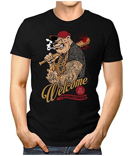 PRILANO Herren Fun T-Shirt - WELCOME-GANGSTER-DOG - Small bis 5XL - NEU Schwarz