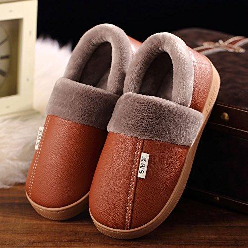 DogHaccd pantofole,Inverno pantofole di cotone interna femmina resistente all'acqua anti-scivolo per le coppie home soggiorno con un pacchetto con le scarpe più caldo di velluto di pelle e maschio Il Giallo1