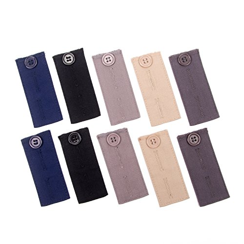 10 Stück Verstellbare Hosen-Extender Bundle für Anzugshosen und Hosen - Passform-jeans-rock