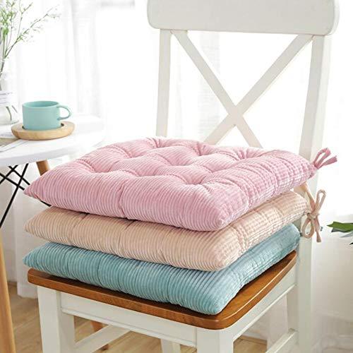 YAOBAO Dining Chair Pads mit Krawatten, Cord verdickt gefüllte Kissen Reversible büschelige Sitzkissen für Home Office, 40x40 cm (3 Stück)