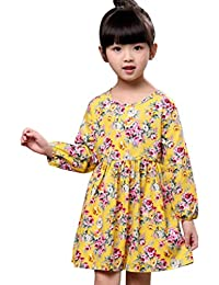 e4248bd95d Bestoppen Toddler Baby Girls Cotton Princess Party Dress Girl Cute Long  Sleeve Floral Printing Swing Dresses Fashion Tutu Crewneck A-Line…