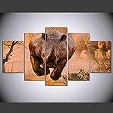 WLHQH 5 Stück Leinwand Kunstdruck Tier Nashorn Wandbild Kunstdruck Wohnzimmer Wanddekoration 150x80cm Leinwandbild Geeignet für Heimtextilien(Ohne Rahmen)