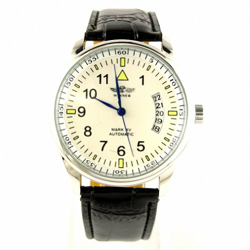 MapofBeauty-White-Dial-Black-PU-leather-Band-Automatic-Mechanical-Wrist-Watch-Calendar-Watch