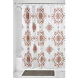 iDesign Medallion Paisley Duschvorhang | dekorativer Badewannenvorhang in 183,0 cm x 183,0 cm | tolles Duschvorhang Design mit Paisley-Muster| Polyester koralle/taupe