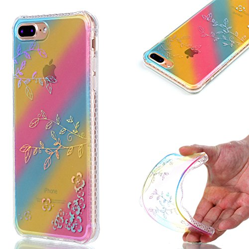 Apple iPhone 7 Plus 5.5 Coque, Voguecase TPU avec Absorption de Choc, Etui Silicone Souple Transparent, Légère / Ajustement Parfait Coque Shell Housse Cover pour Apple iPhone 7 Plus 5.5 (Placage color Placage colorés-Branches